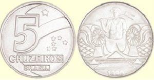 Braile na moeda de 5 cruzeiros, comparando com a imagem acima de 1 cruzado novo