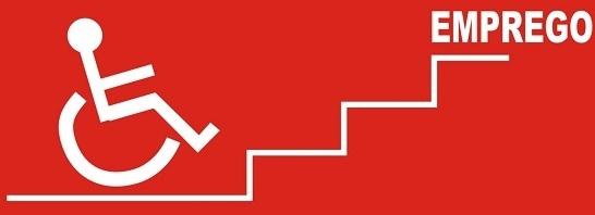 imagem tipo ilustração. A ilustração mostra o ícone branco de uma pessoa usando cadeira de rodas que se depara com degraus brancos e lá no topo a palavra trabalho escrito em branco também. O fundo da imagem é vermelho.